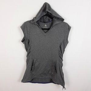 Mondetta MPG Hooded Workout Top V-Neck Ruched L